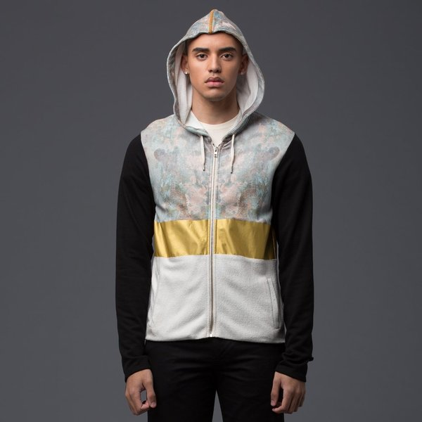 GARCIAVELEZ - Zip Front Fitted Hoodie - Oxidation/Gold Band