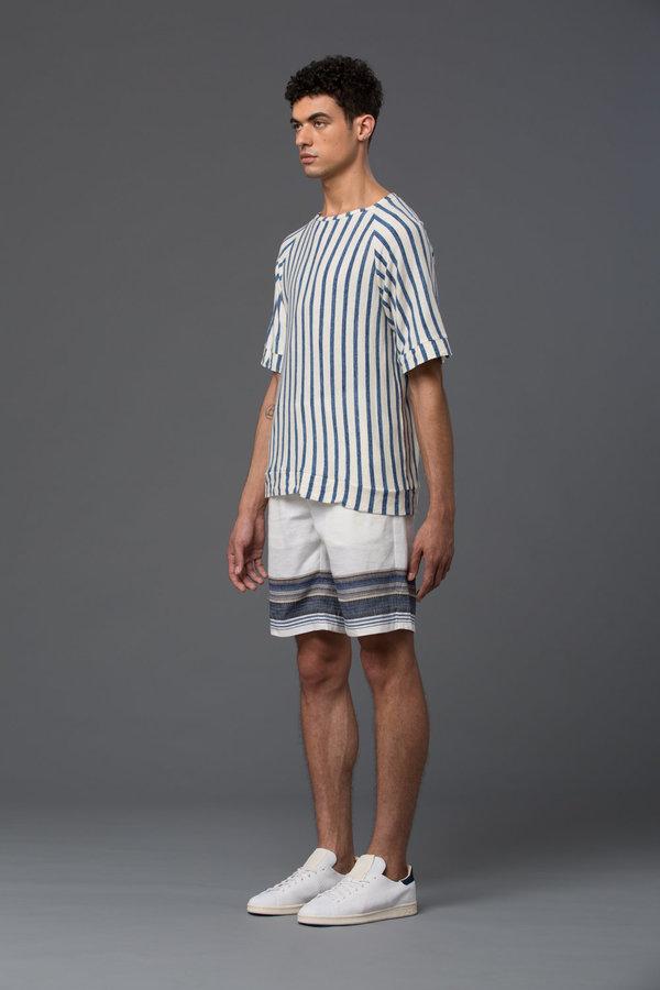 PALMIERS DU MAL - Japanese Striped Cotton Raglan Sweatshirt - Blue Stripe