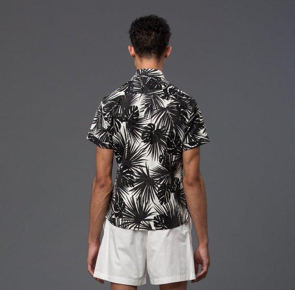 KRAMMER & STOUDT - Dillon Short Sleeve Shirt - Black and White Hawaiian Print