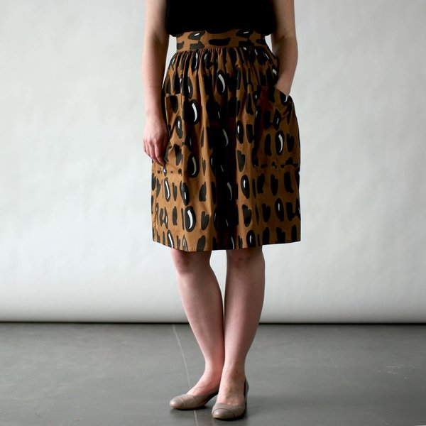 Nooworks Mitzy Skirt in Brown Dots