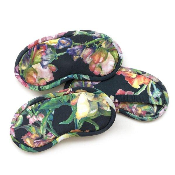Strathcona Silk Eye Mask - Black Watercolor Bouquet