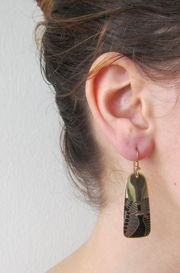 Enamel Egyptian bird earrings