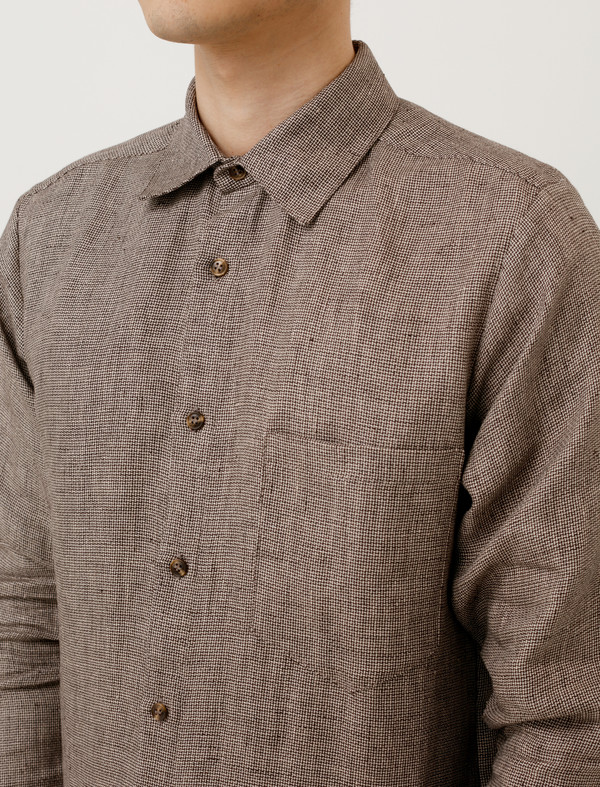 Frank Leder Mens Linen Shirt Brown/Beige Weave