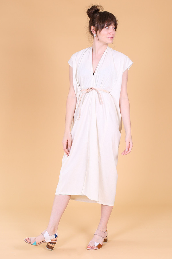 Miranda Bennett Knot Dress In Natural Garmentory