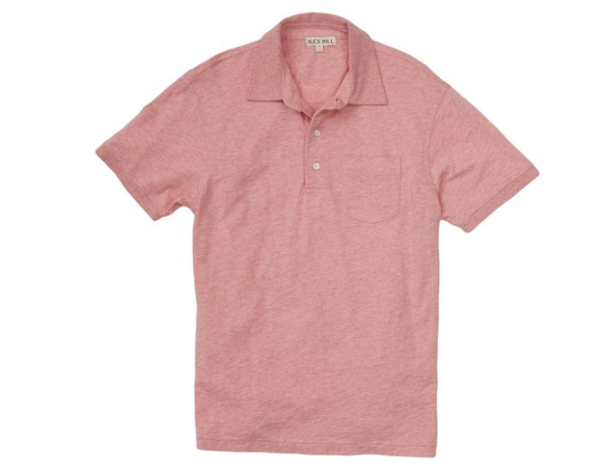 Alex Mill Heather Rugby Polo Red