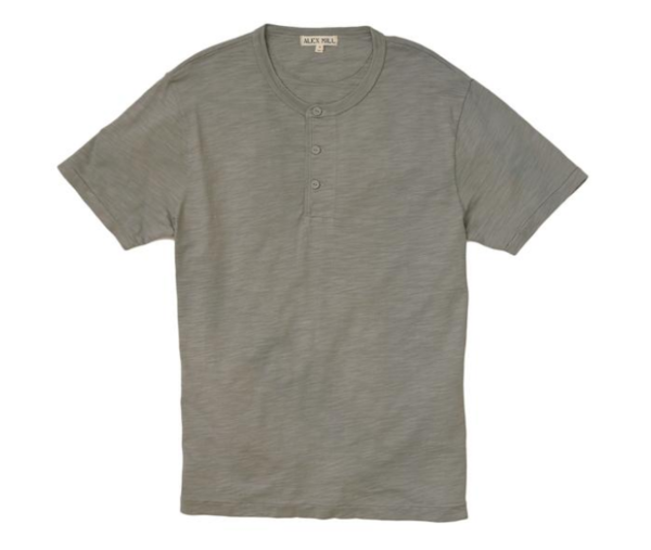 Alex Mill Short Sleeve Henley Slate Grey