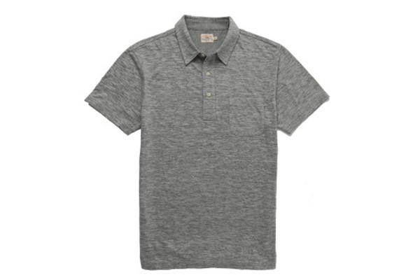 Faherty Brand Heather Polo Charcoal