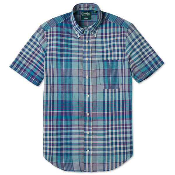Gitman Vintage Teal Madras Check Shirt