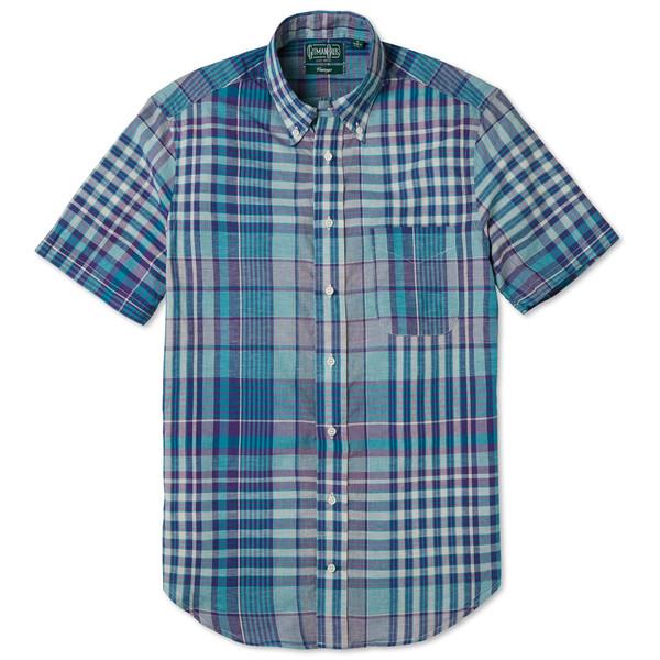 Gitman vintage teal madras check shirt garmentory for Mens madras shirt sale