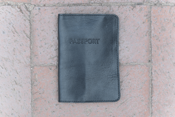 Milworks Black Leather Passport Cover