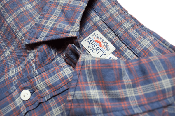 Faherty Brand Ventura Shirt Dusty Blue/Orange