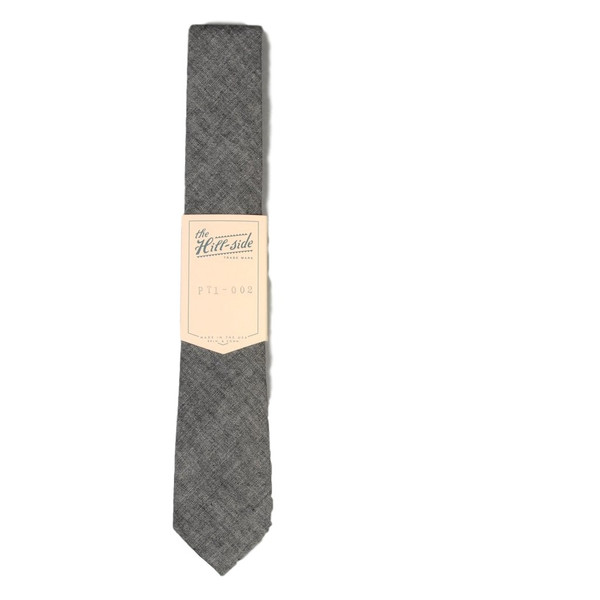 The Hillside Selvedge Chambray  Pointed Tie - Black