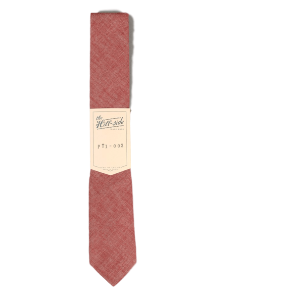 The Hillside Pointed Tie Selvedge Chambray Red