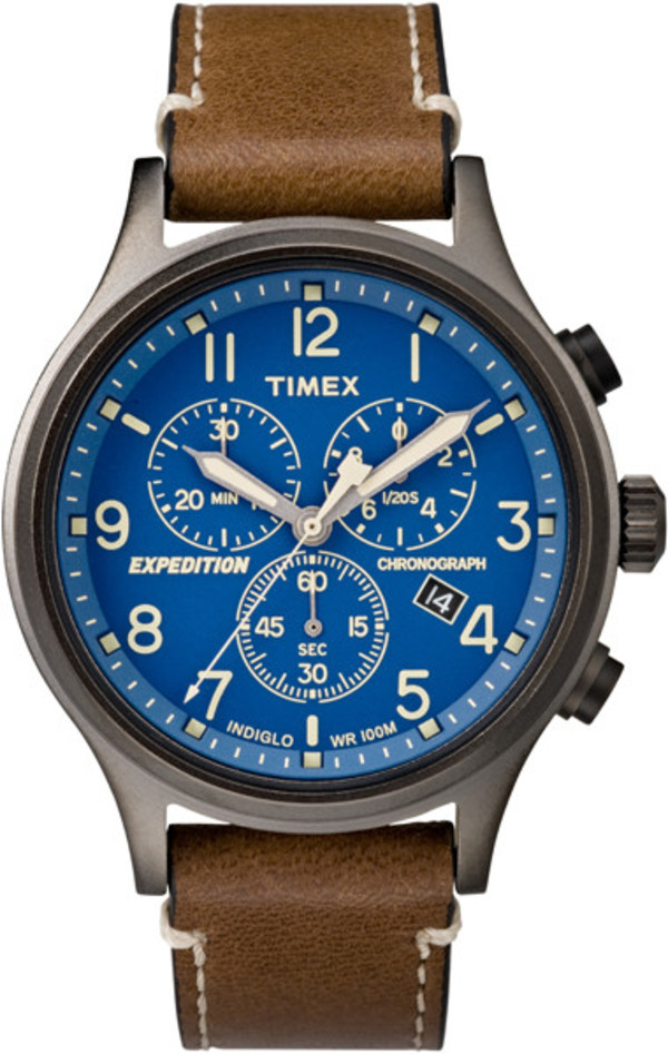 Timex Expedition Scout Brown Strap Blue Dial