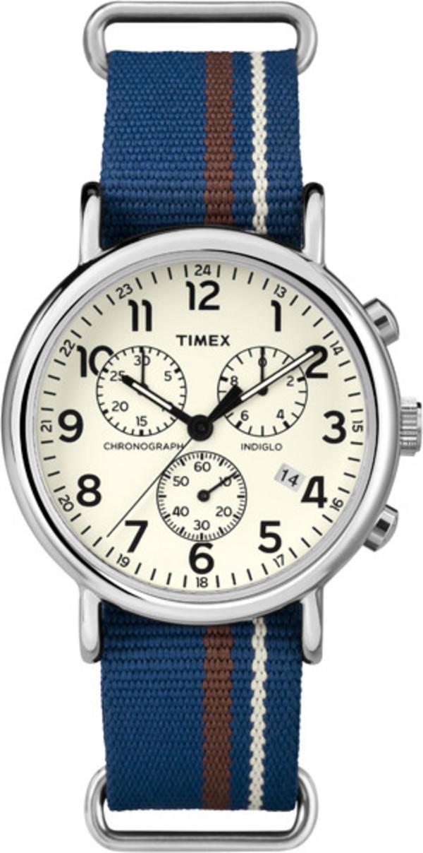 Timex Weekender Chrono Blue Nylon Cream Dial
