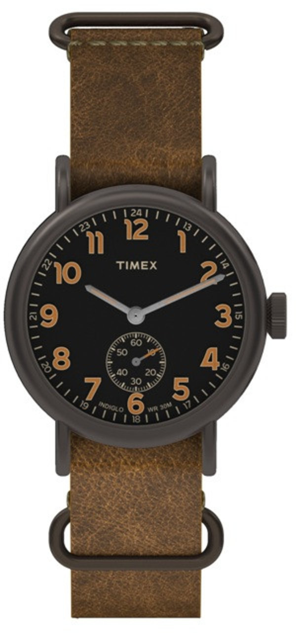Timex Weekender Sub-Second Black Dial Titanium Case Brown Strap