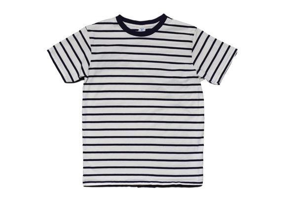 Velva Sheen White Navy Stripe Tee
