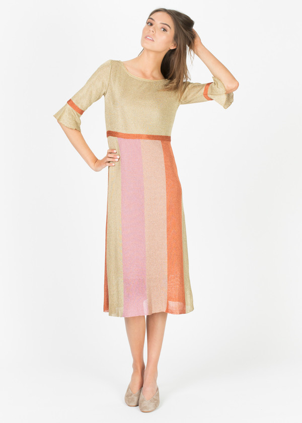 Siyu Lurex Elbow-Sleeve Dress