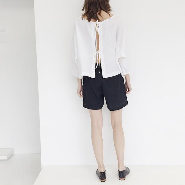 LLOYD White Linen Tie Back Top