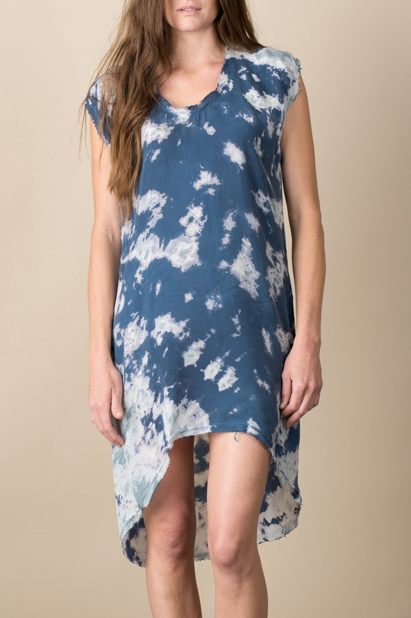 Pharaoh Marble Cocoon Dress In Blue