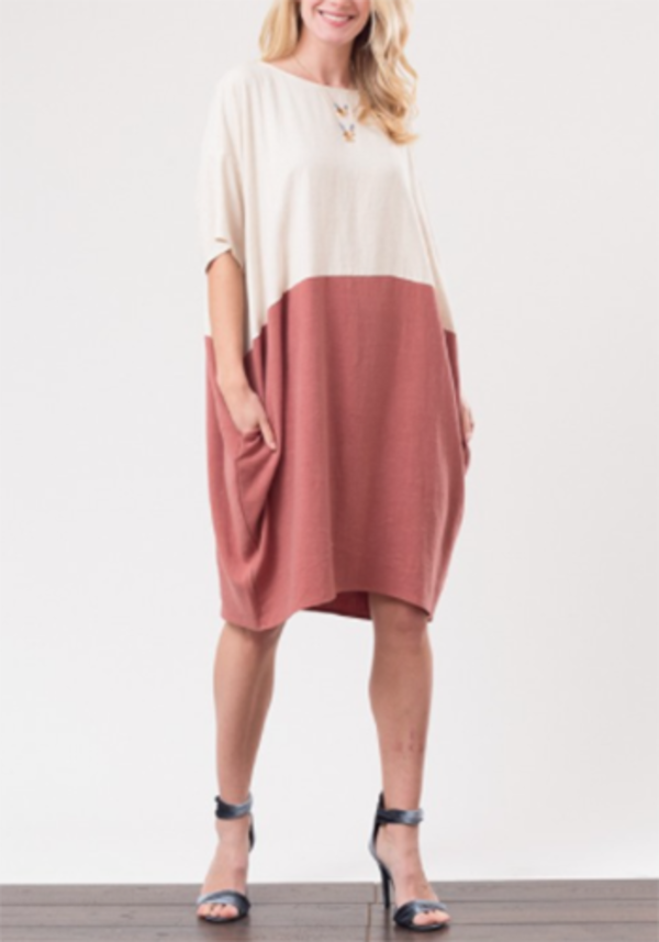 Love In Auburn Color Block Dress