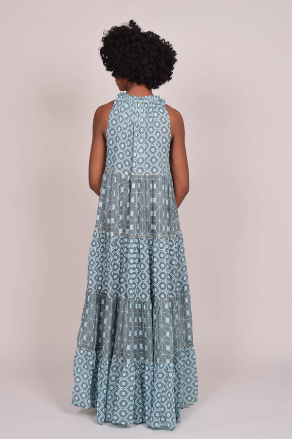 Yvonne S Sleeveless Maxi Hippy Dress - Blue