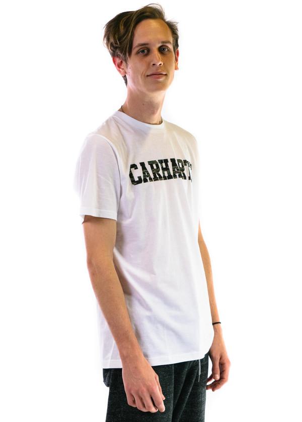 Carhartt Wip SS College T-Shirt - White/Camo Tiger