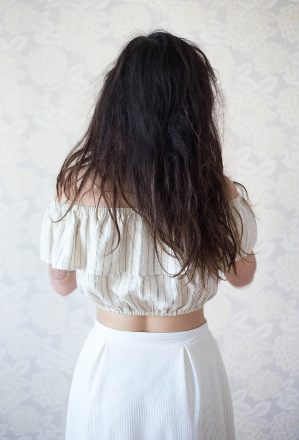 Jeska Grue Ruffle Top (Vanilla Stripe)