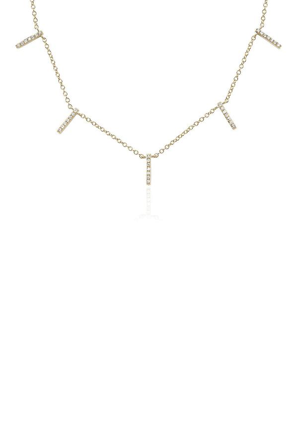EF Collection Diamond 5 Bar Necklace