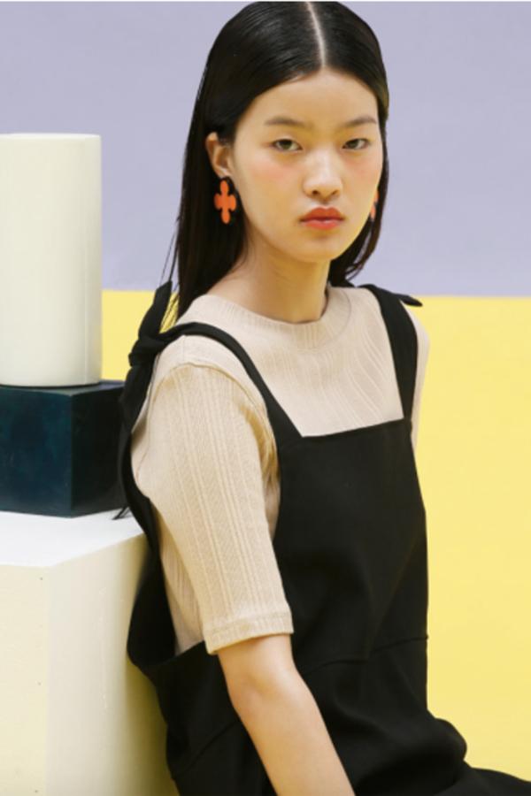 Oversized Tie Overall Dress- Black