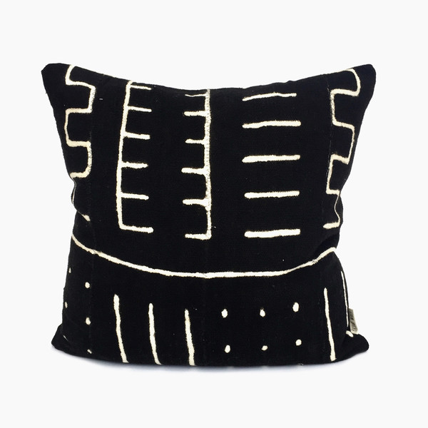 Bryar Wolf Black Mudcloth Pillow