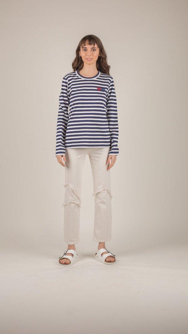 6805d9097448f Comme des Garçons Play Navy Stripe Two Heart T-Shirt on Garmentory