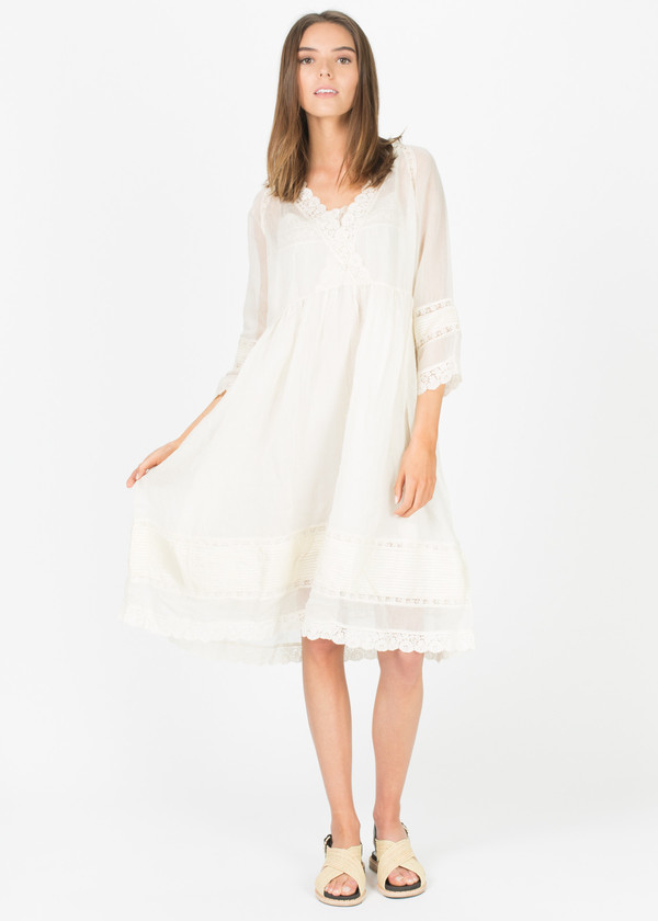 Pero Sheer Lace Trim Dress With Slip On Garmentory