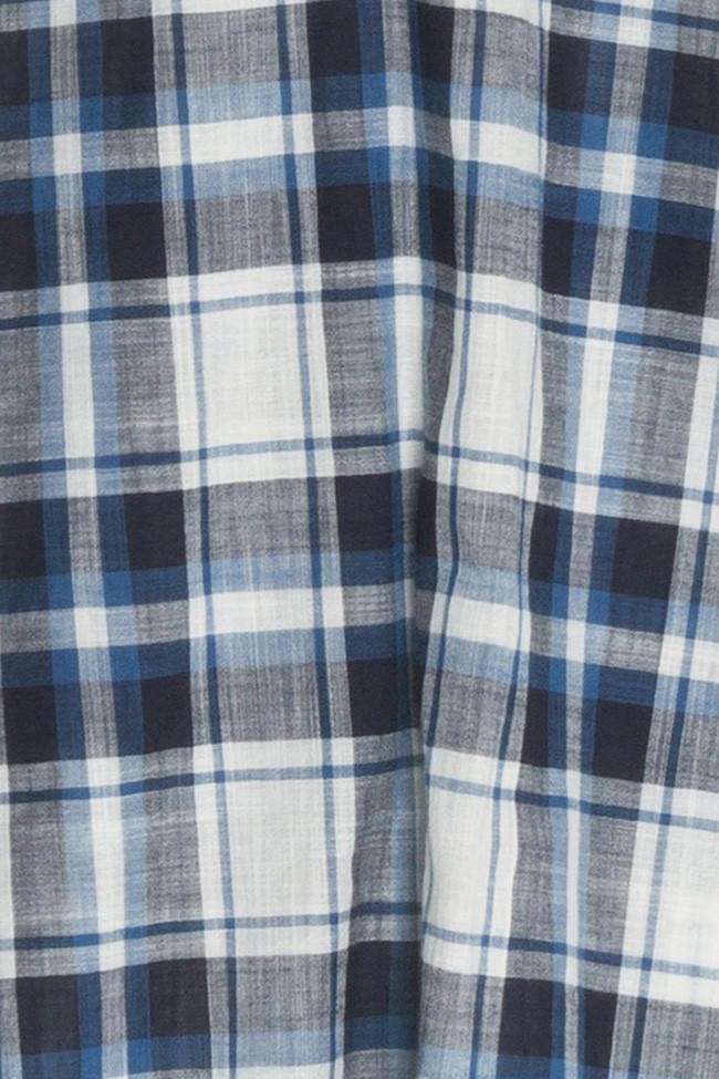 The sleep shirt short sleep shirt blue navy plaid for Navy blue plaid shirt
