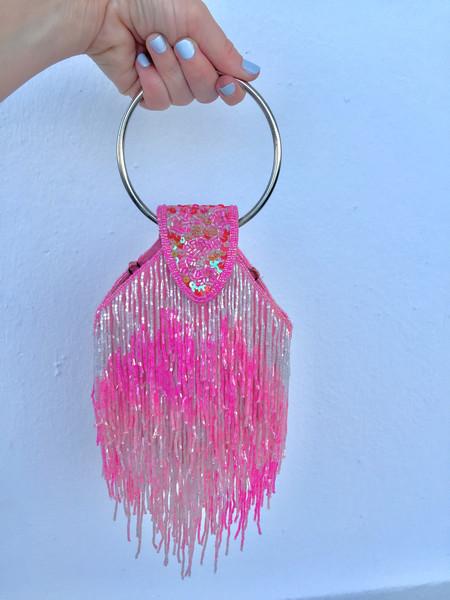 Vintage HOH Curate Beaded Fringe Bag - Pink/White Multi