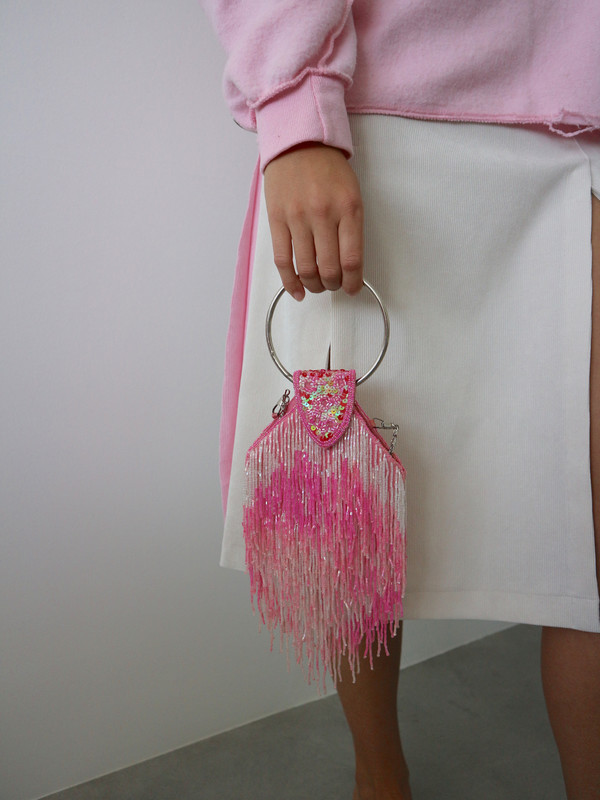 Vintage HOH Curate Beaded Fringe Bag - Pink/White Multi