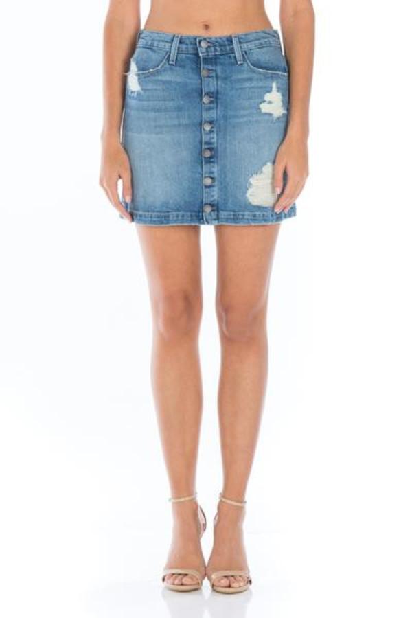 Fidelity Denim Collette Mini Skirt in Topaz