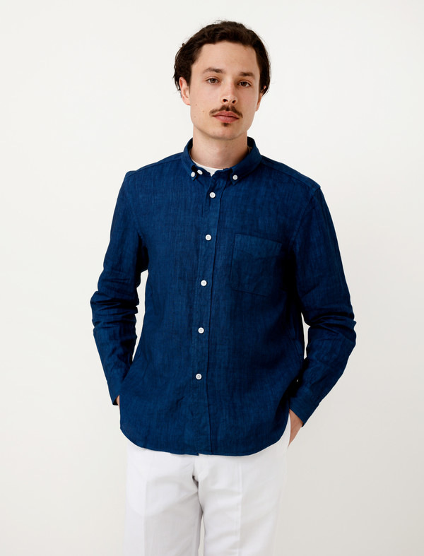 b7fa2b95c68 Niuhans Natural Indigo Dye Irish Linen Shirt. sold out