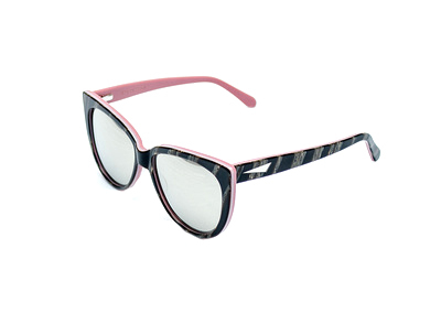 Prism Moscow Mirrored Sunglasses in Brown Wood with Pink Interior