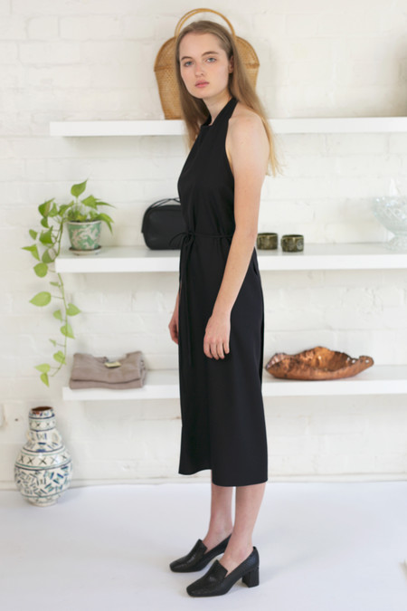 Baserange Raw Silk Apron Dress - Black