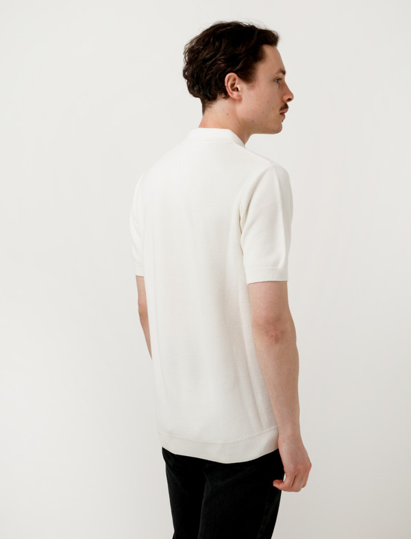 Sunspel Mens Mesh Textured Polo Off White