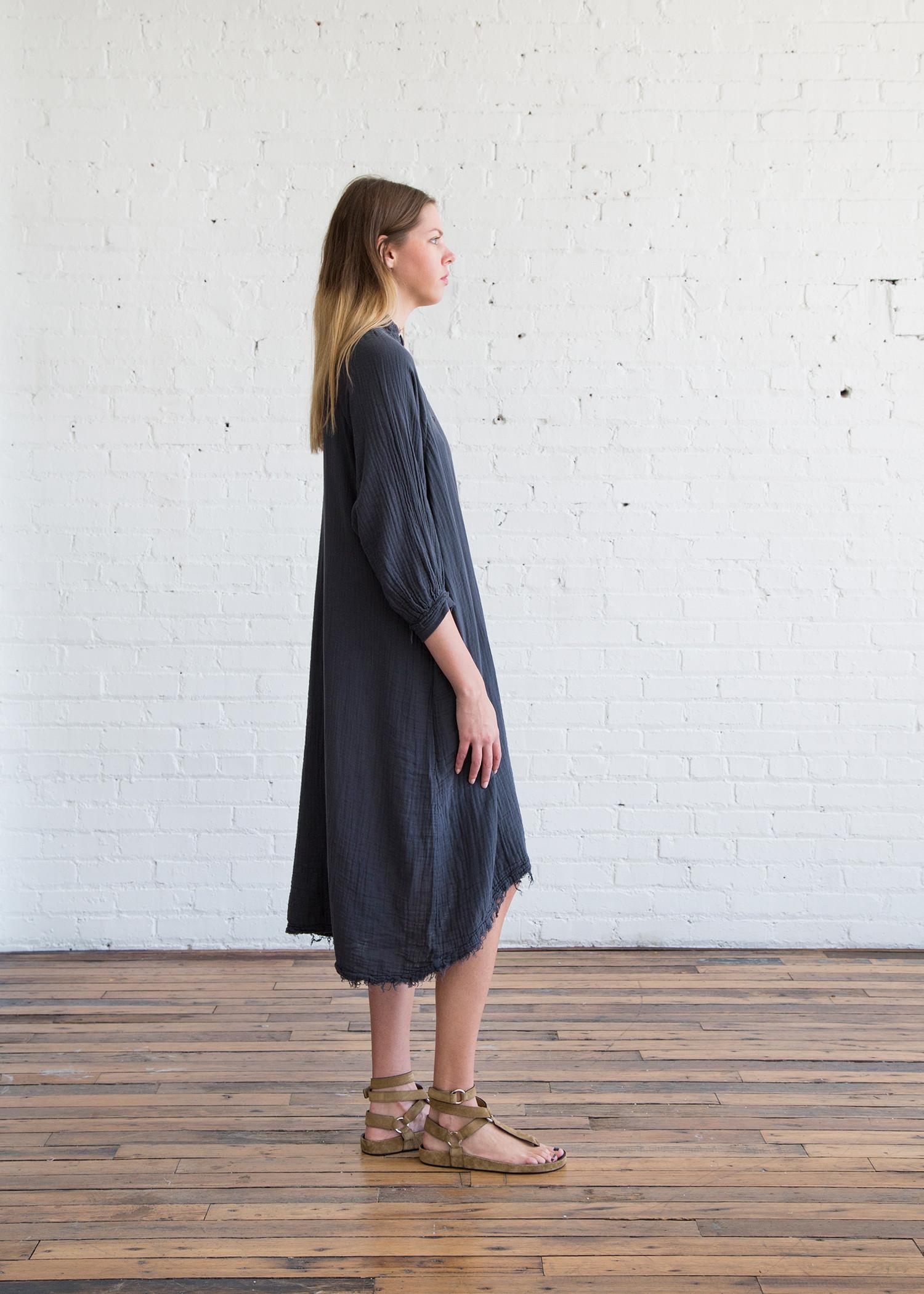 Black Crane Double Gauze Dress Dark Grey Garmentory