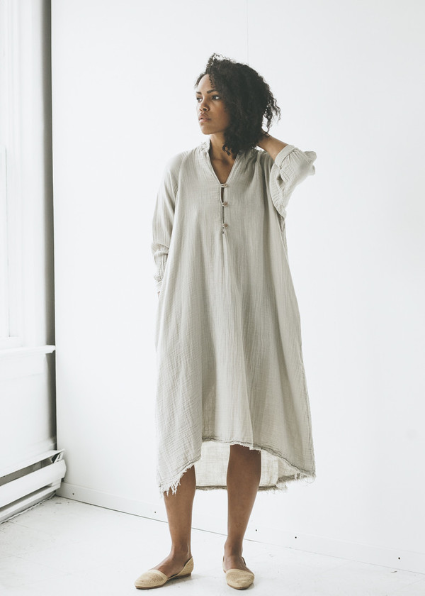 Black Crane Double Gauze Dress In Sand Garmentory