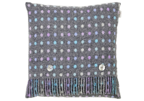 Bronte Grey Pastel Multi Spot Merino Lambswool Cushion