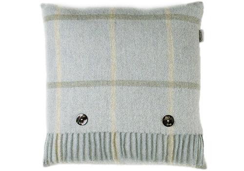 Bronte Windowpane Aqua Shetland Wool Cushion