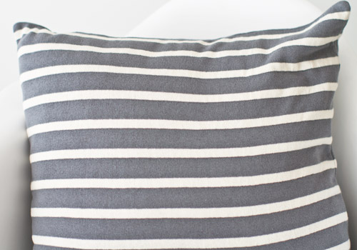 Darzzi Beach Stripes Grey Natural Cotton Cushion