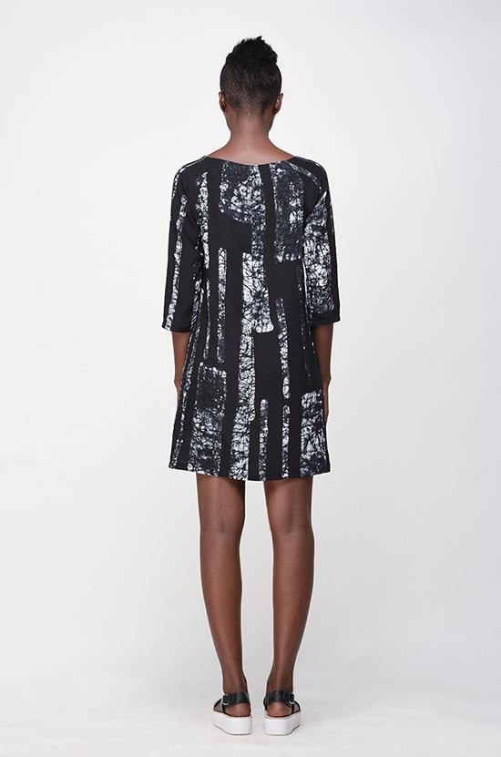 Osei Duro  Linter Dress in B&W Parallel