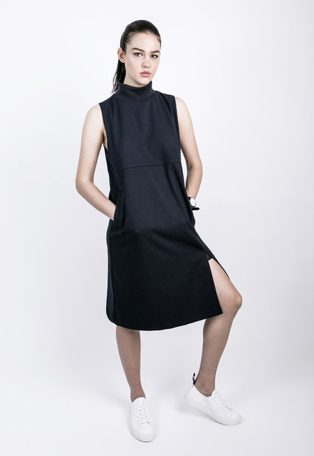 ROCKET X LUNCH Ribbed High Collar Dress - Navy blue