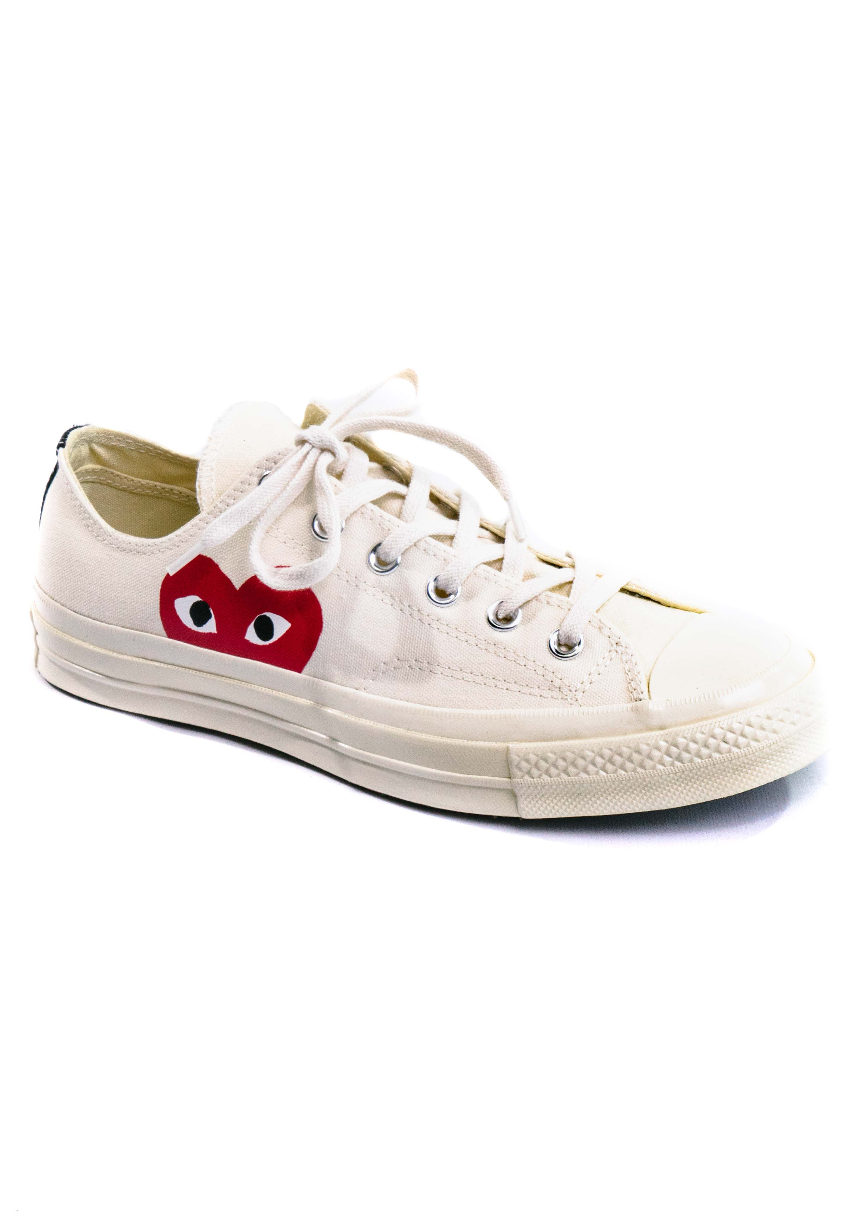 comme des gar231ons play x converse chuck taylor low white
