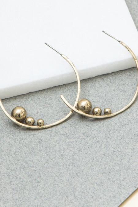 Cities In Dust Bronze Triple Ball Slope Earrings